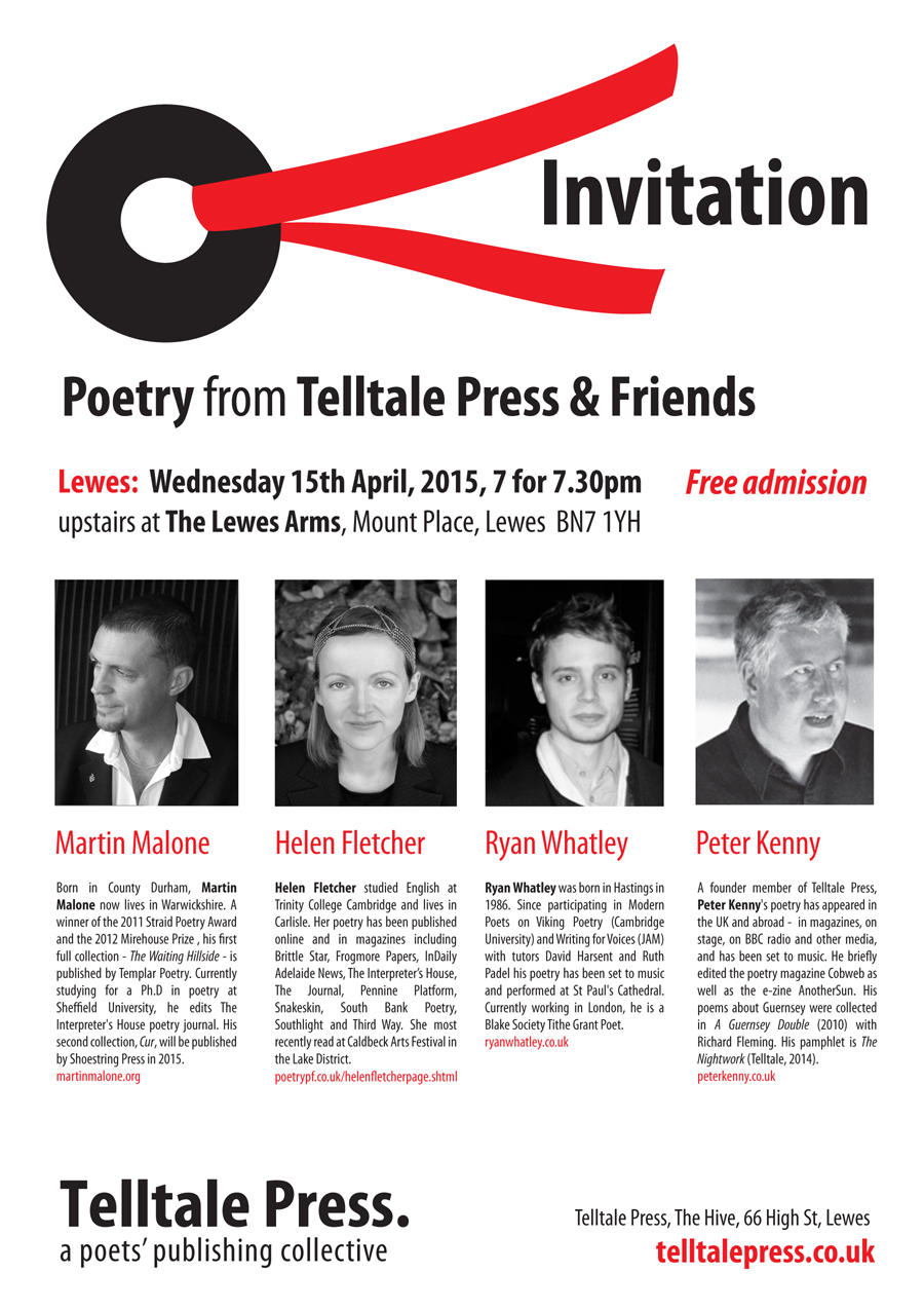 Telltale Poets flyer for Lewes event April 2015