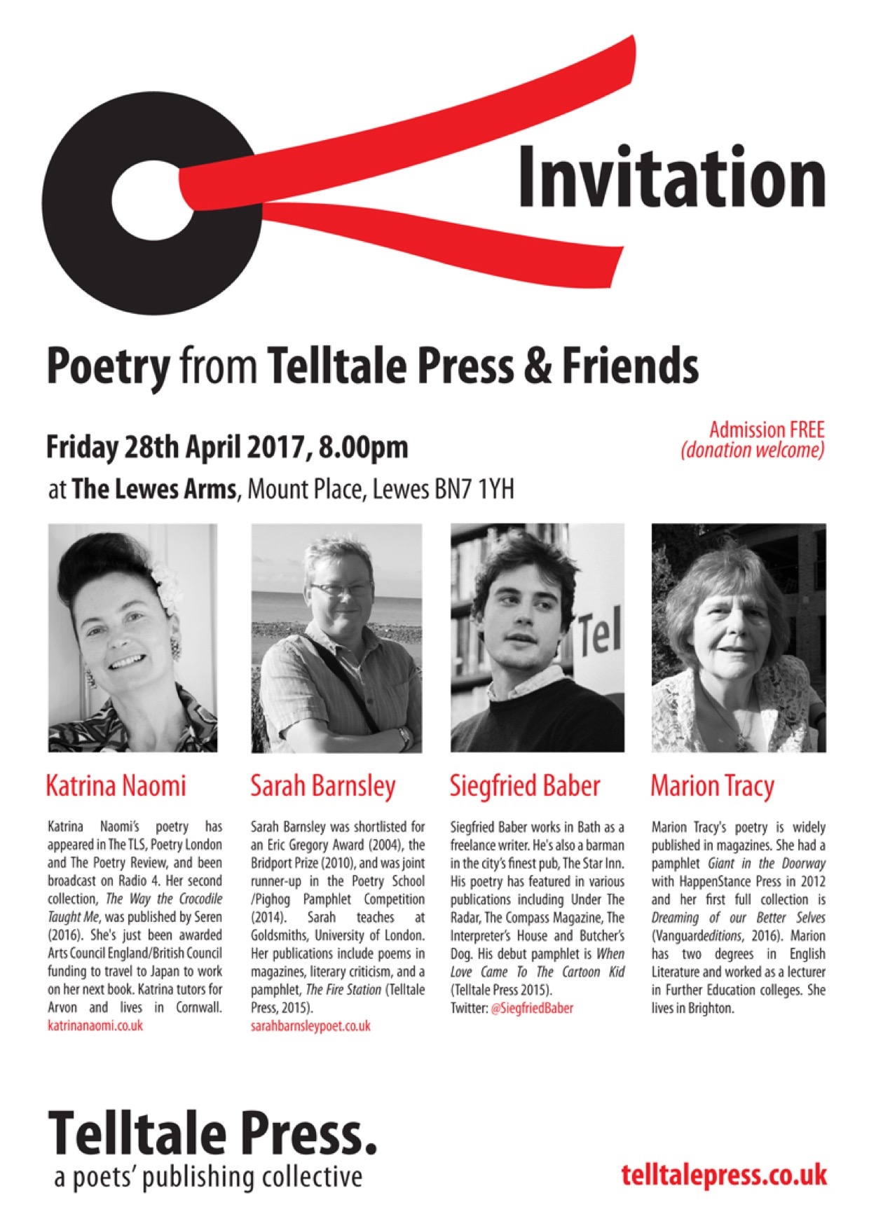 Poetry reading Lewes Arms 28th April 2017